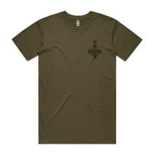 "Load image into Gallery viewer, ""Upside Down Cross"" Army T-Shirt - Imprint Merch"