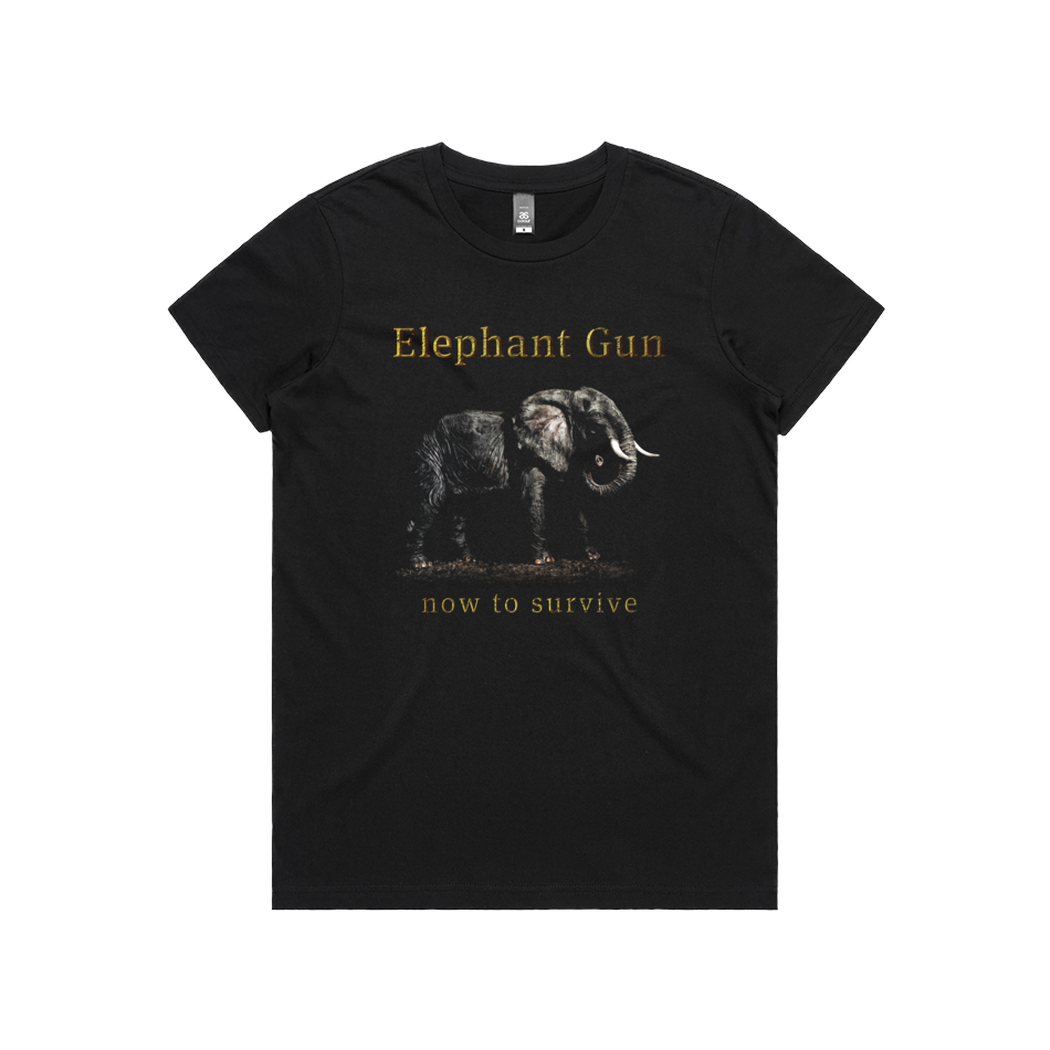 Front design of Elephant Gun Womens Black T-Shirt