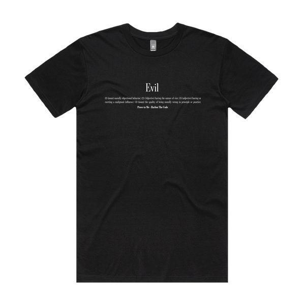 Front design of Harbor The Code Mens Black T-Shirt