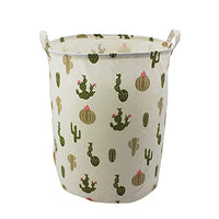 "Mziart 19.7"" Large Cute Toy Storage Bins Organizer Round Cloth Storage Basket for Nursery Kids Baby, Canvas Foldable Laundry Hamper Bag, Collapsible Waterproof Laundry Basket Sorter (Green Cactus)"