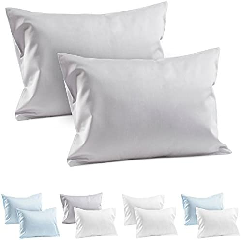 Precious Star Linen American Choice! Genuine 425 Thread Count Egyptian Cotton Soft 2-Pieces Pillowcase Solid/Plain (Toddler/Baby Pillow Zipper { 12 x 16 Inch}, Silver Grey Solid)