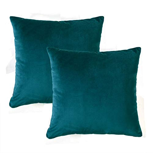 YINFUNG Light Blue Pillow Covers Velvet Pillow Cover Teal Lake Blue 18x18 Toss Pillow Cover Sky Baby Blue Pastel Couch Throw Pillow Cases Cushion Cover Slate Blue Sofa Living Room Decor Set of 2
