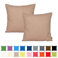 Queenie - 2 Pcs Solid Color Thick Cotton Canvas Decorative Pillow Covers Throw Pillow Case Available In Different Colors and Sizes (17.75 x 17.75 Inch (45 x 45 Cm), Dark Brown)