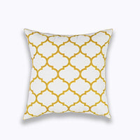 TAOSON Yellow and White Large Triangle Geometry Cotton Canvas Embroidered Cushion Cover Pillow Cover Pillowcase Pillow Sofa Throw with Hidden Zipper Closure Only Cover No Insert 18x18 Inch 45x45cm