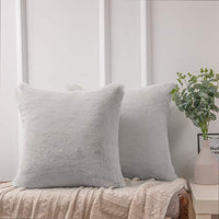 Ashler Ultra Soft Throw Pillows Faux Rabbit Fur Pack of 2 Decorative Pillow Cushion Cover White 18 x 18 inches 45cm x 45cm