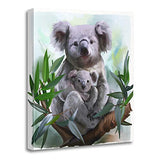 "Semtomn 12""x12""(30x30cm) Canvas Painting Wall Art Animal Koala and Her Baby Watercolor Painting Drawing Australia Australian Home Decorative Artwork Prints"