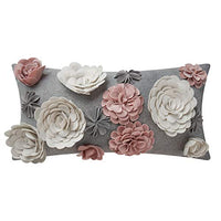 King Rose 3D Flower Throw Pillow Cover Handmade Pillowcase Decorative Cushion Cover Bed Sofa Couch Living Room 12 x 20 Inches Colorful