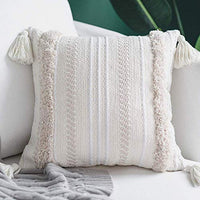 blue page Lumbar Small Decorative Throw Pillow Covers for Couch Sofa Bedroom Living Room, Woven Tufted Boho Pillows Cover with Tassels, Cute Farmhouse Pillows Case (12X20 inch, Cream)