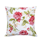 Lotus Karen Floral Flower Print Throw Pillow Cushion Cover 18x18 Inches-Canvas Cotton Pillow Cover-Decorative Square Pillowcase Pillowslip Pillow Protector Case for Sofa Couch Chair Car Seat –2 Pack