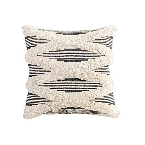 JASEN Boho Pillow Cover, Decorative Pillow Covers Cushion Cover Plush Striped Black with Simple Tassels Moroccan Colorful Pillow Cover 18x18 Inch