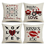 MENGT Set of 4 Valentine's Day Decorative Throw Pillow Covers 18 x 18 inch Square Soft Cotton Linen Home Decor Valentine's Day Cushion Covers Throw Pillow Cases for Sofa Couch Bedroom