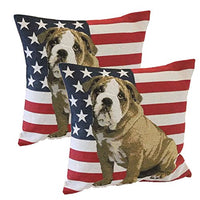Queenie® - 2 Pcs of National Flag Tapestry Polyester Cushion Cover Decorative Throw Pillow Case Pillowcase 18 X 18 Inch 45 X 45 Cm (Bull Dog and American Flag Bundle Set)