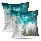 WAYATO Decorative Pillow Covers, Oil-Painting 18 x 18 with Brush Strokes Abstract Canvas Acrylic Art Double-Sided Pattern Square Throw Pillow Cases Sofa Cushion Covers for Living Room