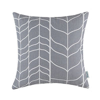 CaliTime Canvas Bolster Pillow Cover Case for Couch Sofa Home Decoration Modern Chevron Stem Panels Geometric 12 X 20 Inches Navy Blue