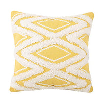 JASEN Lumbar Pillow Cover, Decorative Pillow Covers Cushion Cover Plush Striped Yellow with Simple Tassels Moroccan Colorful Pillow Cover 12x20 Inch