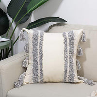 Bigcozy Decorative Throw Lumbar Pillow Cover, Boho Tribal Long Pillow Case with Tassels, Gray & Beige Cushion Cover Cotton Canvas, Hidden Zipper, 12x20 Inches