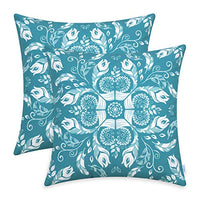 CaliTime Pack of 2 Poly Canvas Throw Pillow Covers Cases for Couch Sofa Home Decoration Creative Leaves & Feathers Dahlia Floral Print 18 X 18 Inches Teal