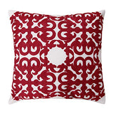 Deconovo Christmas Cushion Cover Hook Patten Throw Pillow Covers Embroidered Cotton Canvas Cushion Covers for Individual Cushions Red and White 18x18 inch Set of 2 No Pillow Insert
