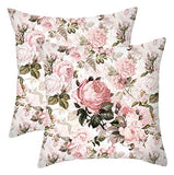 WOMHOPE Floral Leaf Decorative Throw Pillow Covers Cushion Pillow Cases Canvas Spring Colorful 18 x 18 Inch for Living Room,Couch and Bed (Leaf)