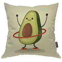 Moslion Avocado Pillows Cute Fruit Avocado Doing Exercise with Hula Hoop Throw Pillow Cover Decorative Pillow Case Square Cushion Accent Canvas Cotton Linen Home 18x18 Inch Green