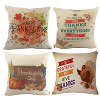 Wonder4 Fall Pillow Covers Autumn Theme Farmhouse Decorative Throw Pillow Covers 18x18 Inch Set of 4 Truck Pumpkin Patch Leaves Throw Pillows for Fall Decorations
