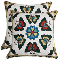 NING Pack of 2 Butterfly Flower Embroidered Throw Pillows Covers Bed Cotton Canvas Home Decorative Sofa Throw Pillow Cases 18 x 18 inch (Flower 2)