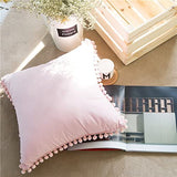 Meaning4 Light Pink Pillow Cover with Pom Balls Cotton Throw Pillow Case 45x45CM(18x18inches)