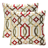 Pack of 2 SimpleDecor Jacquard Geometric Links Accent Decorative Throw Pillow Covers Cushion Case Multicolor 18X18 Inch Red
