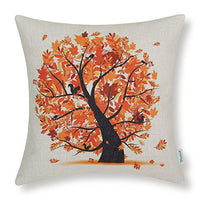 CaliTime Canvas Throw Pillow Cover Case for Couch Sofa Home Decoration Season Tree 18 X 18 Inches Autumn Orange Fall Leaves
