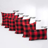 4TH Emotion Set of 2 Christmas Buffalo Check Plaid Throw Pillow Covers Cushion Case Cotton Polyester for Farmhouse Home Decor Red and Black, 20 x 20 Inches