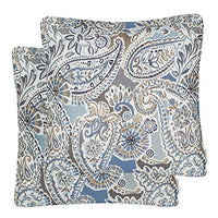 Mika Home Pack of 2 Decorative Pillow Covers Throw Pillow Cases,Paisley Pattern,18X18 Inches,Blue Brown Cream Multicolor