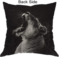 Moslion Lion Pillows Wild Animal Roaring Lions with Long Tongue Sharp Teeth Throw Pillow Cover Decorative Pillow Case Square Cushion Accent Cotton Linen Home 18x18 Inch Black Grey