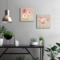 Gardenia Art - Pink Flowers Modern Canvas Wall Art Paintings Red Flowers Artwork for Bedroom Living Room Decoration,12x12 inch per Piece, Stretched and Framed, Ready to Hang