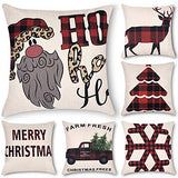 Decorsurface Set of 6 Buffalo Check Plaid Throw Pillow Covers 18x18, Farmhouse Square Decorative Pillow Covers for Home Decor, Cushion case Black and White