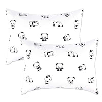 IBraFashion Kids Toddler Pillowcases 100% Soft Percale Cotton Sateen Weave 14x19 2 Packs Fits Bedding Pillow 14x19, 13x18 Small Pillow (Black and White Baby Panada)