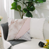 UOOPOO Spliced Mixed Rose Gold Marble Throw Pillow Case Square 16 x 16 Inches Soft Cotton Canvas Home Decorative Wedding Cushion Cover for Sofa and Bed One Side