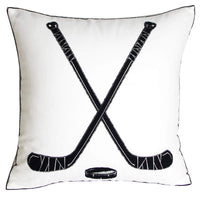 DECOPOW Embroidered Hockey Throw Pillow Covers,Square 18 inch Decorative Canvas Pillow Cover for Ice Hockey Room Decor(Cover Only,Hockey Pattern)