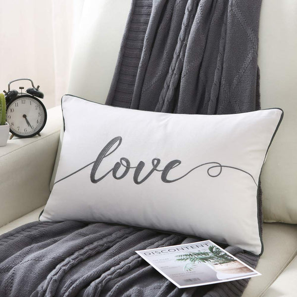 Sanmetex Indoor/Outdoor Embroidery Love Lumbar Pillow Cover, Housewarm Decorative Cushion for Sofa Bedroom Car,Great Gifts for Thanksgiving Day, Christmas,Wedding. 12 X 20 Inch (30cm X 50cm)