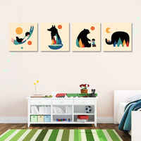 Woodland Animal Nursery Canvas Wall Art Prints Set of 4, Baby Wall Art, Kids Room Wall Decor. (Red)