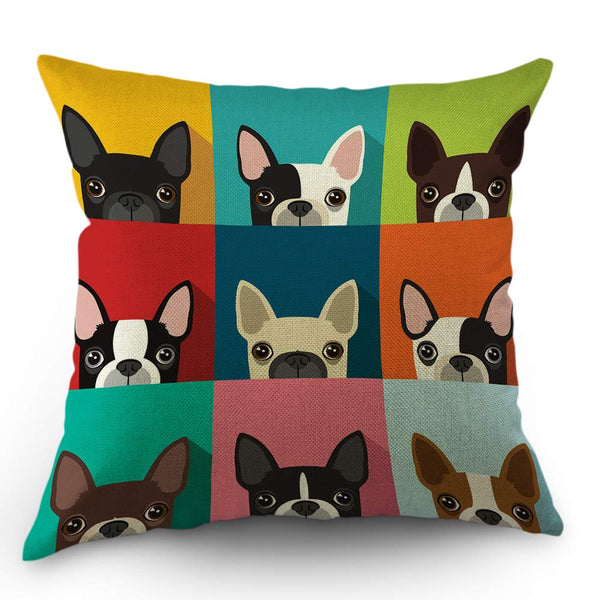 Moslion Dog Pillows Decorative Throw Pillow Cover Boston Terrier Cute Fun Cartoon Pets Dogs Head Face Frame Pillow Case 18x18 Inch Cotton Linen Square Cushion Cover for Sofa Bed Multicolor