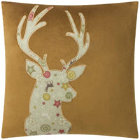 JWH Christmas Deer Applique Throw Pillow Cover Decorative Accent Pillow Case Velvet Cushion Cover Square Pillow Sham Home Bed Living Room Chair Sham Decor Gift 18 x 18 Inch Yellow Brown
