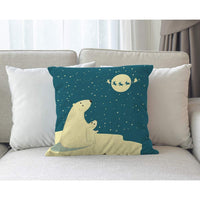 Moslion Bear Pillow Cover Polar Bears Dad Son Watching Reindeer Moon Throw Pillow Case 18x18 Inch Cotton Linen Canvas Decorative Square Cushion Cover for Sofa Bed Blue Beige
