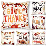 Decorsurface decorative throw pillow covers 18x18, sofa, couch pillow covers, set of 4, faux linen square pillow covers for cushion, fall pillow covers