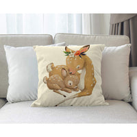 Moslion Deer Pillow Case Cute Deer Mom and Son Flower Leaves Mother's Day Father's Day Throw Pillow Cover Cotton Linen Canvas for Home Sofa Decorative Square Cushion 18x18 Inch