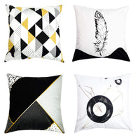 Je Veux Home Double Sided Throw Pillow Covers Geometric Feather Decorative Pillowcase Black/Yellow/Grey/White Soft, 18 x 18 inch Pack of 4