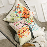 MIULEE Pack of 4 Trees Series Colorful Pillow Covers Decorative Linen Square Throw Pillow Covers Soild Cushion Cases Flower Pattern Home Decor for Sofa Bedroom Car 18x18 Inch