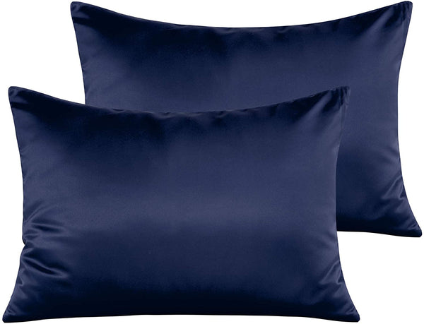 "NTBAY Satin Toddler Pillowcases, Travel Pillow Covers Set of 2, Zipper Closure, Super Soft and Luxury, 13""x 18"", Navy Blue"