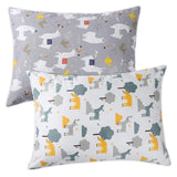 Onacosht 100% Cotton Toddler Pillowcases for Baby Boy and Girl, Fits 13x18 inches or 14x19 inches Kid Pillows, Zipper Closure, Pack of 2, Cute Alpaca and Deer Printing