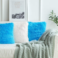 MIULEE Pack of 2 Luxury Faux Fur Throw Pillow Cover Deluxe Decorative Plush Pillow Case Cushion Cover Shell for Sofa Bedroom Car 18 x 18 Inch Little Blue