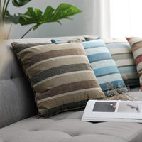 MIULEE Pack of 2 Decorative Classic Retro Stripe Throw Pillow Covers Cotton Linen Modern Farmhouse Pillow Case Cushion Case for Sofa Bedroom Car 24 x 24 Inch Coffee